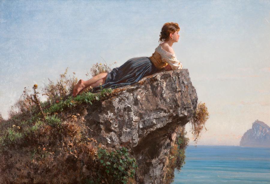 フリー絵画 フィリッポ・パリッツィ作「ソレントの岩に乗る少女」