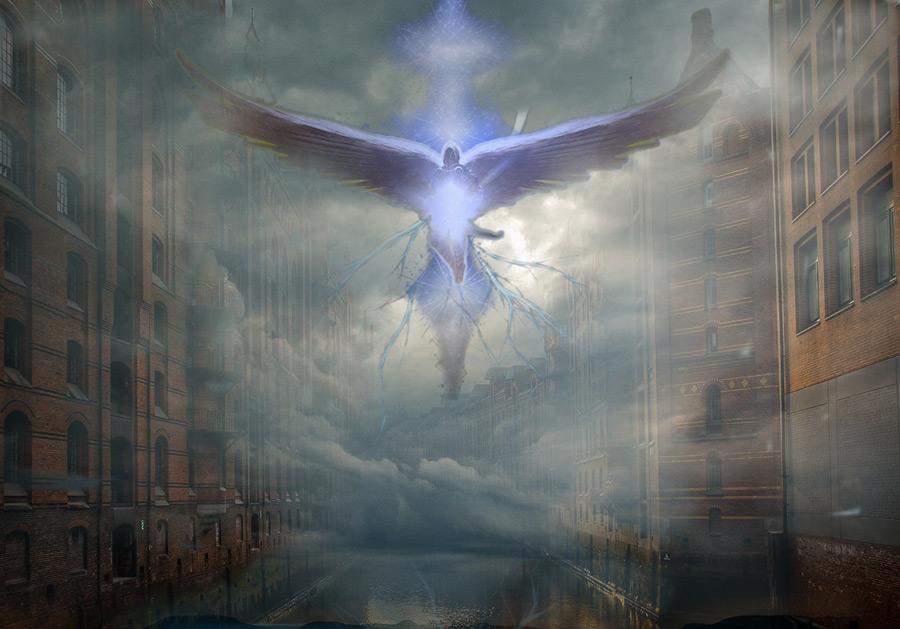 フリーイラスト 街中に降りてきた天使