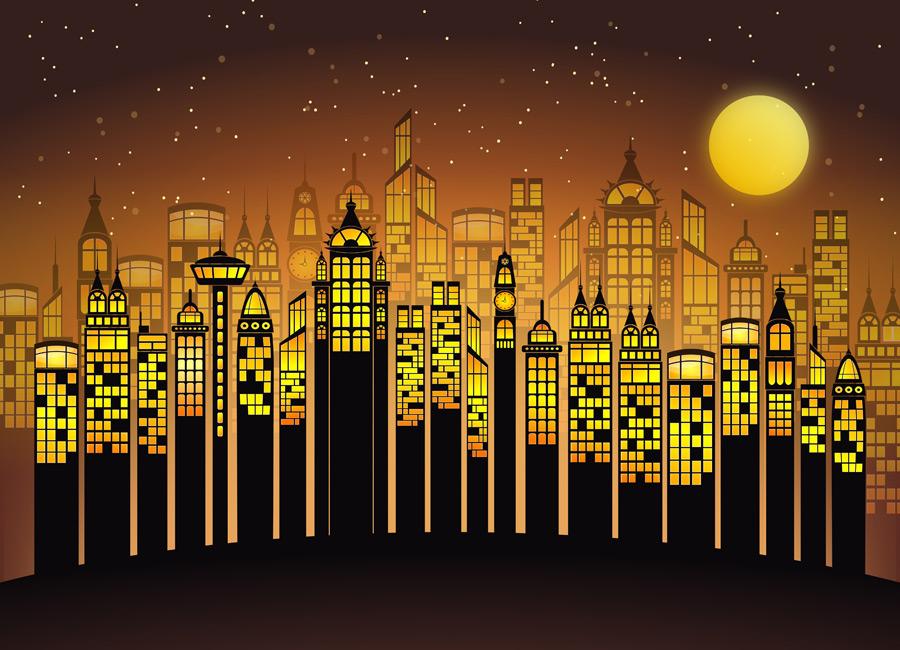 フリーイラスト 満月と高層ビルの建ち並ぶ都市の夜景