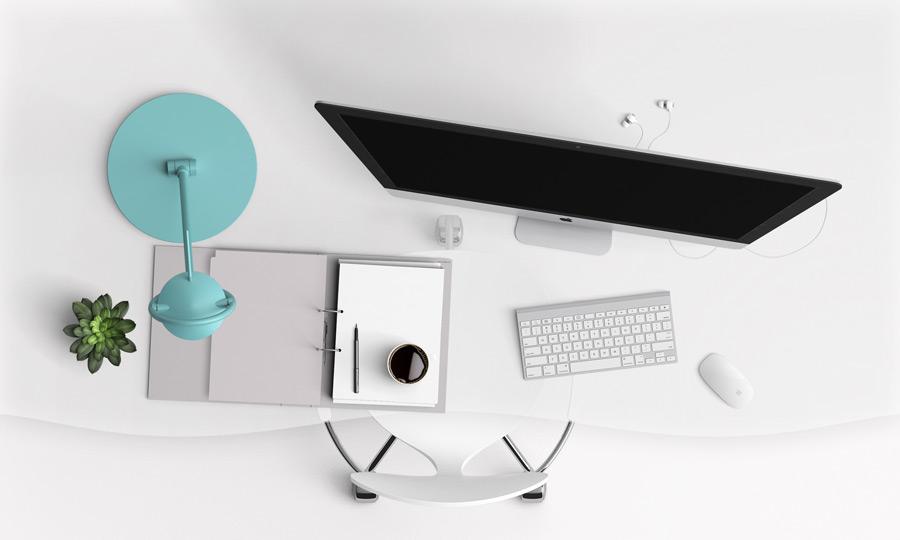 フリーイラスト パソコンとファイルとコーヒーが置かれたオフィスデスク
