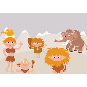 フリーイラスト, ベクター画像, SVG, 人物, 原始人, 家族, 親子, 父親(お父さん), 母親(お母さん), 子供, 息子, 赤ちゃん, マンモス