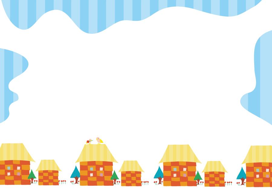 フリーイラスト 家の建ち並ぶ町並みと青空の飾り枠