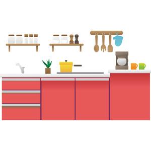 フリーイラスト, ベクター画像, AI, 台所(キッチン), 調理器具, コーヒーメーカー, マグカップ, 片手鍋, 鍋つかみ, 木べら