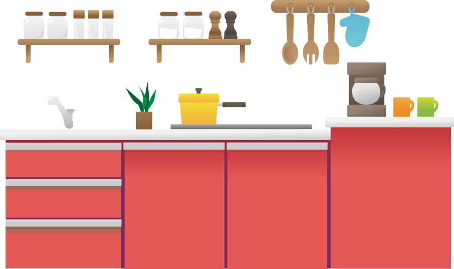 フリーイラスト 調理器具とシステムキッチン