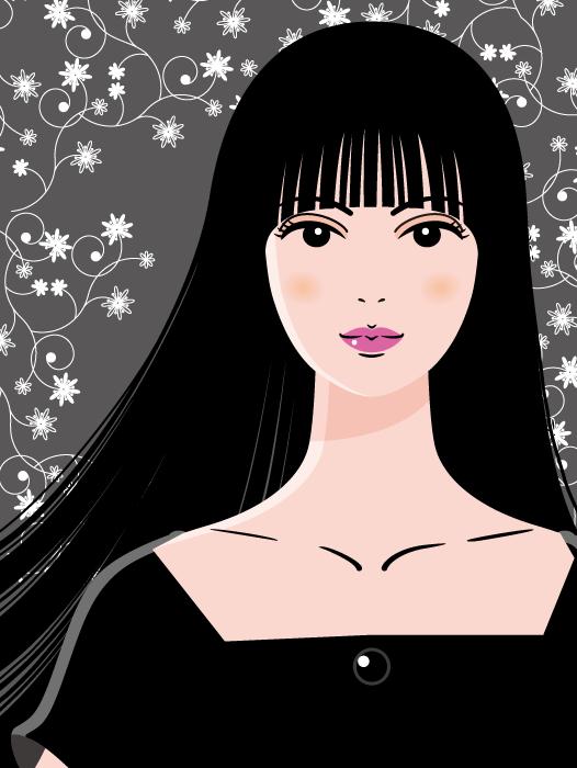 フリーイラスト 花柄の背景と黒髪の女性