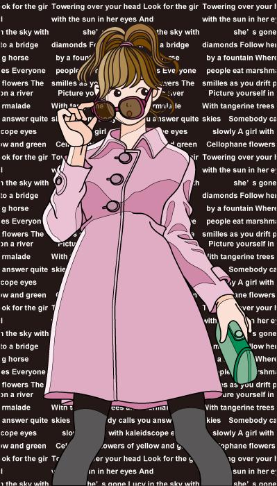フリーイラスト 英字の背景とサングラスを外す女性