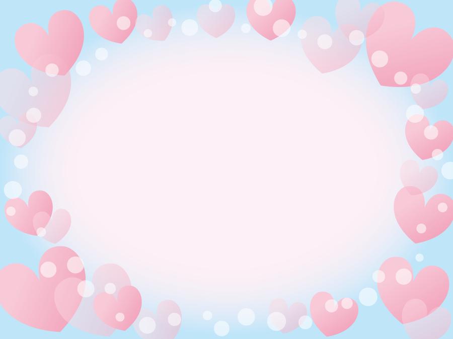 フリーイラスト ピンク色のハートの飾り枠