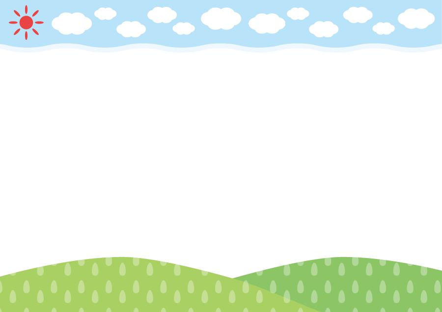 フリーイラスト 空と山の飾り枠