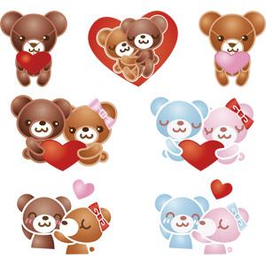 フリーイラスト, ベクター画像, AI, 玩具(おもちゃ), ぬいぐるみ, テディベア, 熊(クマ), ハート, 愛(ラブ)