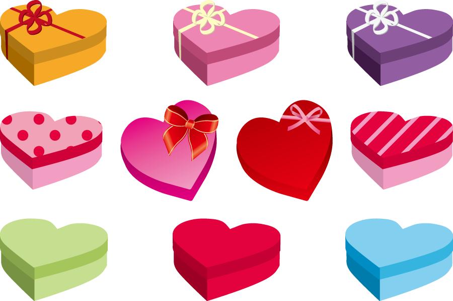 フリーイラスト 10種類のハート型のプレゼント箱のセット