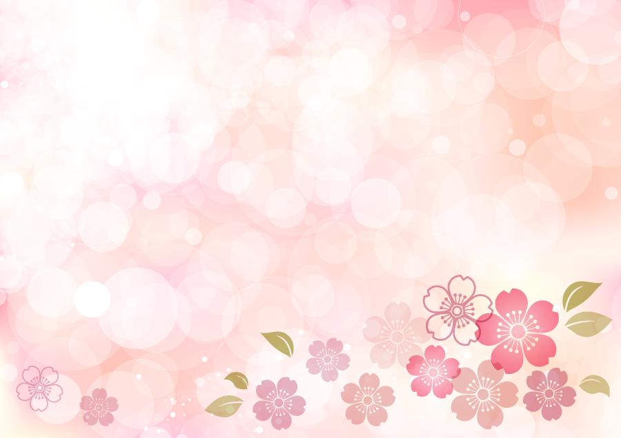 フリーイラスト 桜の花と光の玉ボケの背景