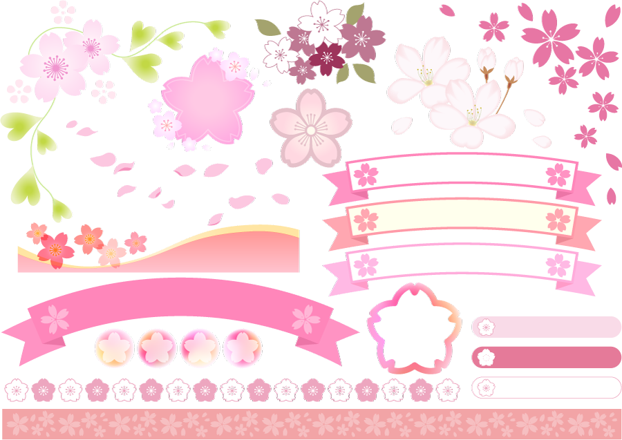 フリーイラスト 桜の花と帯リボンなどの飾りのセット