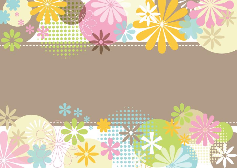 フリーイラスト カラフルな花柄と円の飾り枠