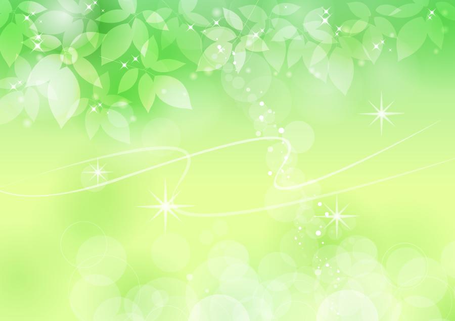 フリーイラスト キラキラ輝く光と新緑の葉の背景