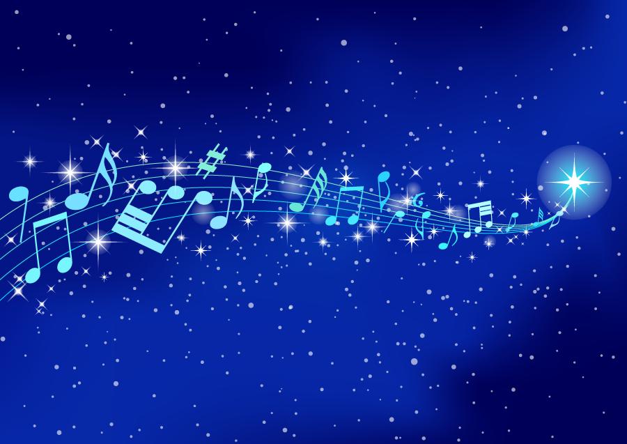 フリーイラスト 楽譜と流れ星の背景