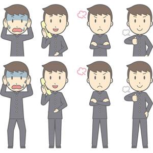 フリーイラスト, ベクター画像, AI, 人物, 少年, 少年(00130), 学生服, 学生(生徒), 高校生, 中学生, 学ラン, 頭を抱える, 失敗, 通話, 固定電話, 怒る, 腕を組む, 胸を叩く, 冷や汗をかく, 青ざめる
