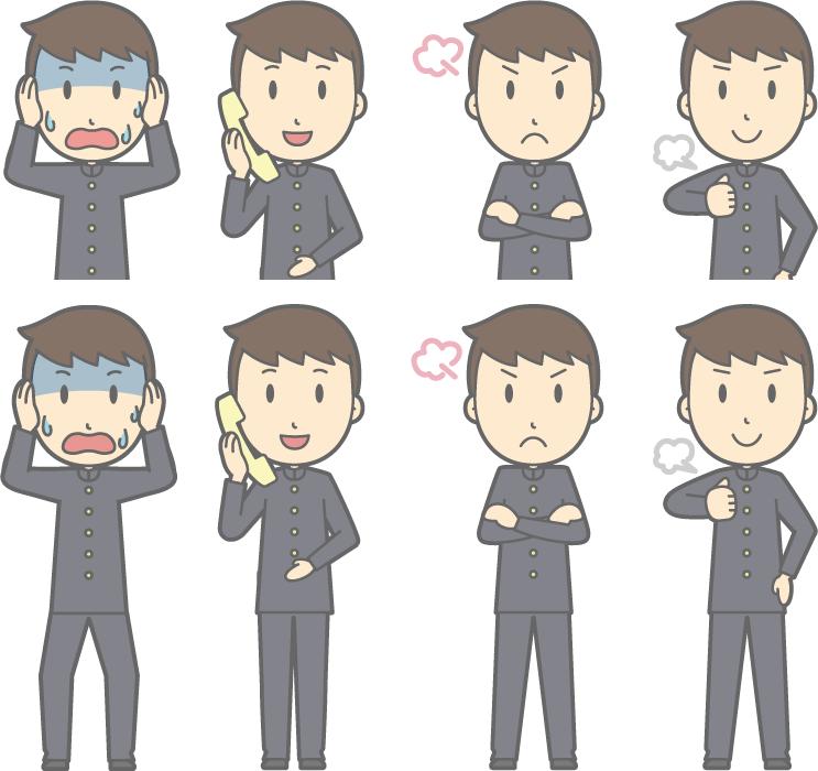 フリーイラスト 失敗して頭を抱えるなどの8種類の男子学生のセット