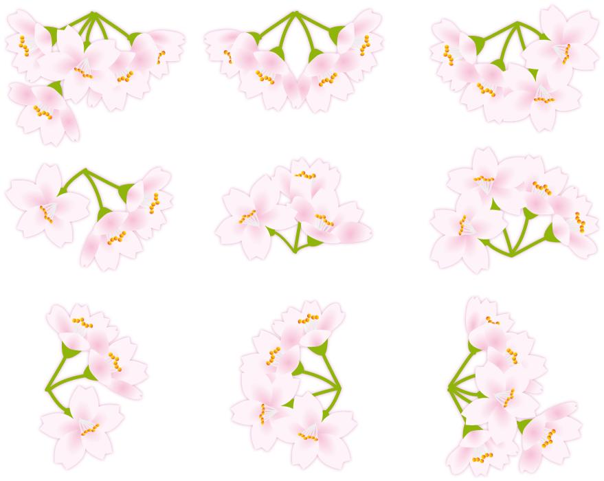 フリーイラスト 9種類の桜の花のセット