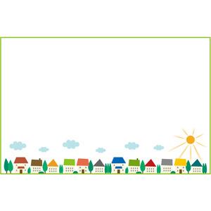 フリーイラスト, ベクター画像, EPS, 背景, フレーム, 囲みフレーム, 街(町), 街並み(町並み), 家(一軒家), 太陽, 晴れ, 雲