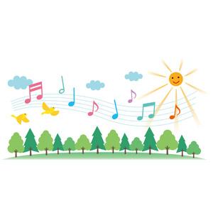 フリーイラスト, ベクター画像, EPS, 音楽, 音符, 太陽, 晴れ, 雲, 森林, 樹木, 小鳥