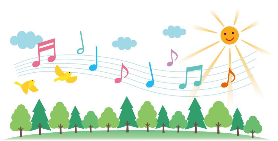 フリーイラスト 森の木々と歌う小鳥たちの背景