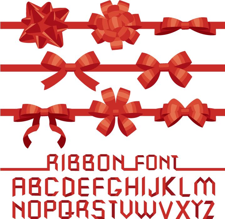 フリーイラスト 赤色のリボンとアルファベットのセット
