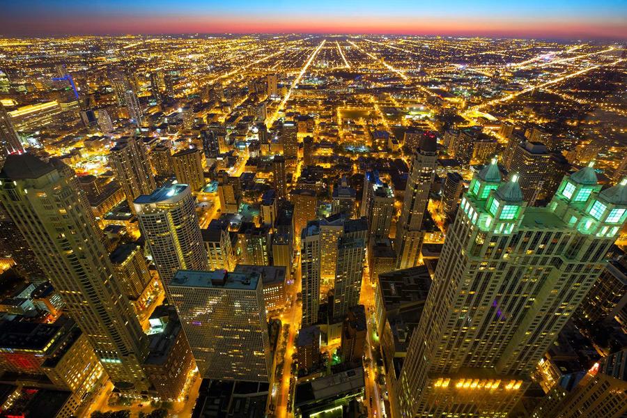 フリー写真 日暮れのシカゴの街並み
