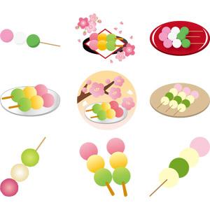 フリーイラスト, ベクター画像, AI, 食べ物(食料), 菓子, 和菓子, 団子(だんご), 花見だんご(三色団子), 花見, 4月