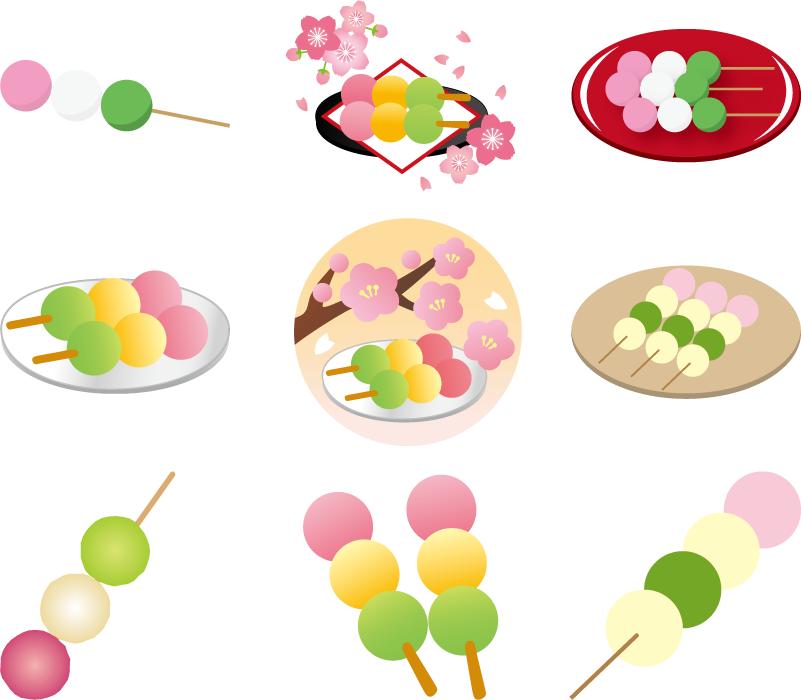 フリーイラスト 9種類の花見だんごのセット