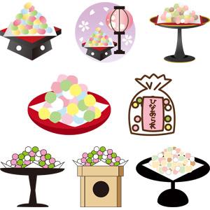 フリーイラスト, ベクター画像, AI, 食べ物(食料), 菓子, 和菓子, 雛あられ(ひなあられ), 雛祭り(ひなまつり), 3月, 上巳(桃の節句)