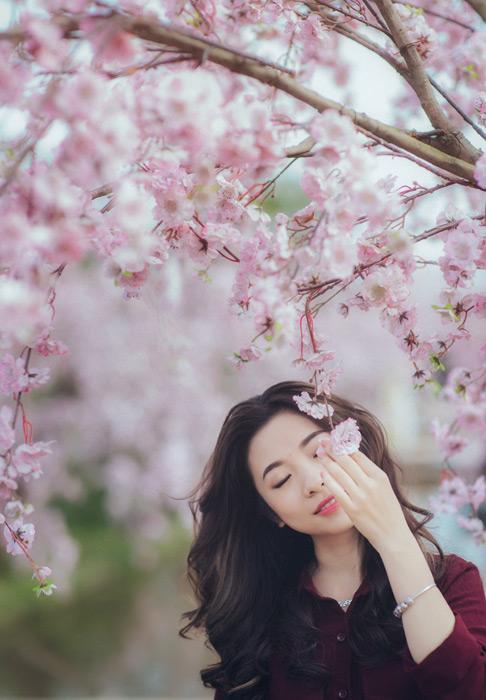 フリー写真 桜の花と目を閉じるベトナム人女性