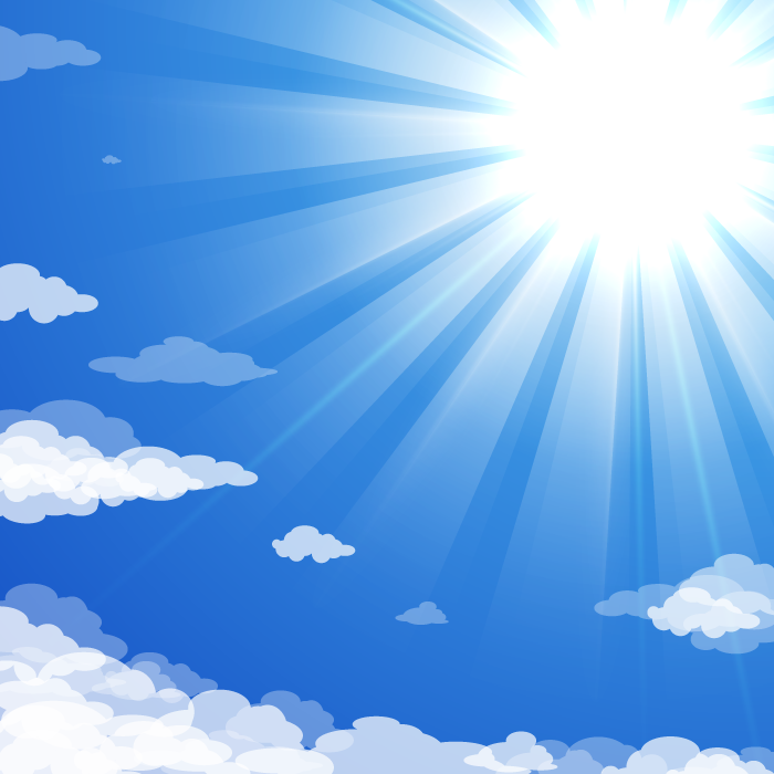 フリーイラスト 空と太陽の光
