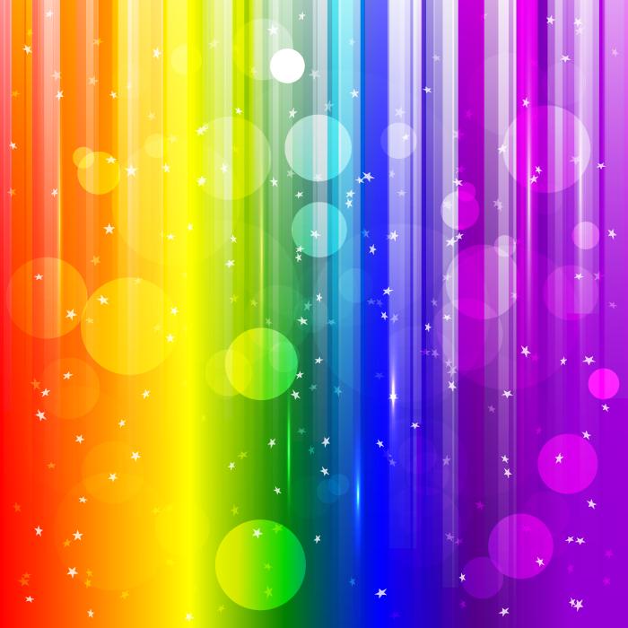 フリーイラスト 円と星と虹色の抽象背景