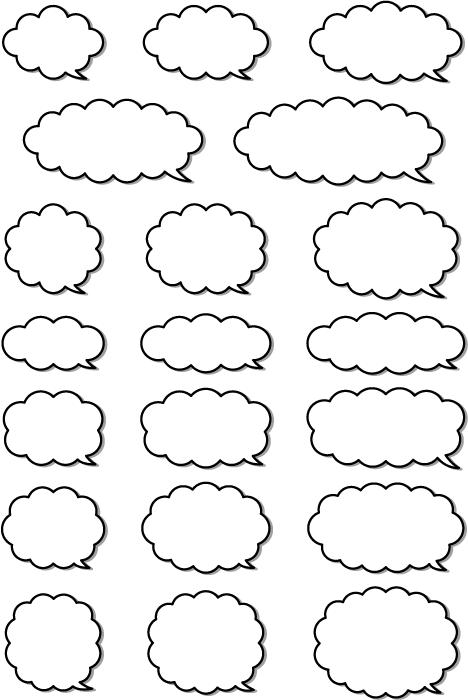 フリーイラスト 20種類の白黒の吹き出しのセット