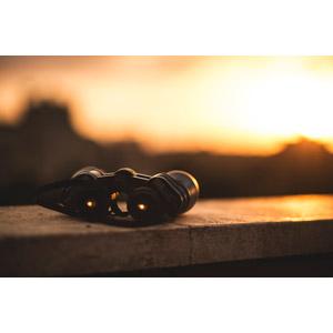 フリー写真, 風景, 夕暮れ(夕方), 夕焼け, 双眼鏡