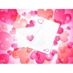 フリーイラスト, ベクター画像, AI, 背景, ハート, 輝き, ラブレター, 手紙, 封筒, 愛(ラブ)