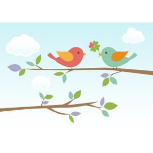 フリーイラスト, ベクター画像, AI, 動物, 鳥類, 鳥(トリ), 小鳥, カップル(動物), 四つ葉のクローバー, ハート, 枝, 青空, プレゼント, 告白, 愛(ラブ)