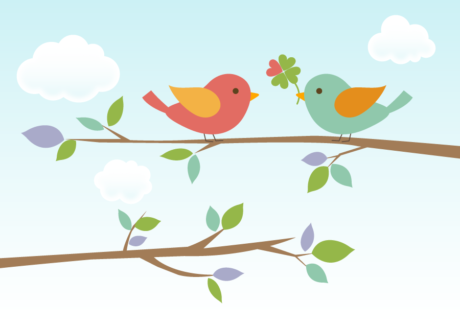 フリーイラスト 枝の上に止まる小鳥のカップル