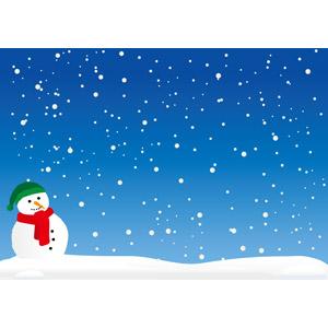フリーイラスト, ベクター画像, AI, 背景, 雪, 雪だるま, 冬, 青色(ブルー)