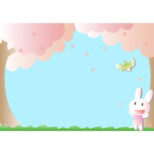 フリーイラスト, ベクター画像, EPS, 動物, 鶯(ウグイス), 兎(ウサギ), 春, 桜(サクラ)