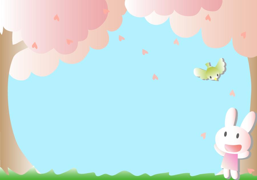 フリーイラスト 桜の木ととウグイスとウサギ