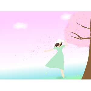 フリーイラスト, ベクター画像, EPS, 人物, 女性, 人と風景, 桜(サクラ), 桜吹雪, 河川, 春, 帽子, ワンピース