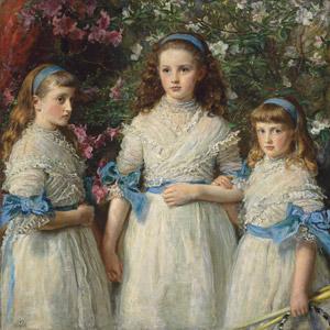 フリー絵画, ジョン・エヴァレット・ミレー, 肖像画, 子供, 女の子, 外国の女の子, 兄弟(姉妹), 三人, 人と花