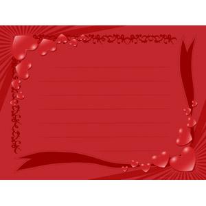 フリーイラスト, ベクター画像, EPS, 背景, フレーム, 囲みフレーム, メッセージカード, ハート, 放射線状, 2月, バレンタインデー, 赤色(レッド)