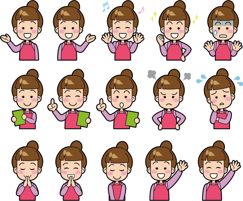 フリーイラスト 15種類のエプロン姿の女性のセット
