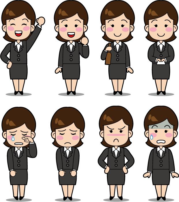 フリーイラスト 10種類のスーツ姿の女性社員のセット