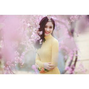 フリー写真, 人物, 女性, アジア人女性, ベトナム人, 女性(00149), アオザイ, 人と花, 桜(サクラ), 春, ピンク色の花