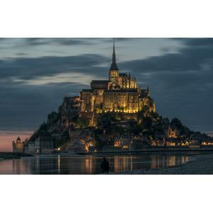 フリー写真, 風景, 建造物, 建築物, モン・サン=ミシェル, 修道院, 世界遺産, フランスの風景, 日暮れ