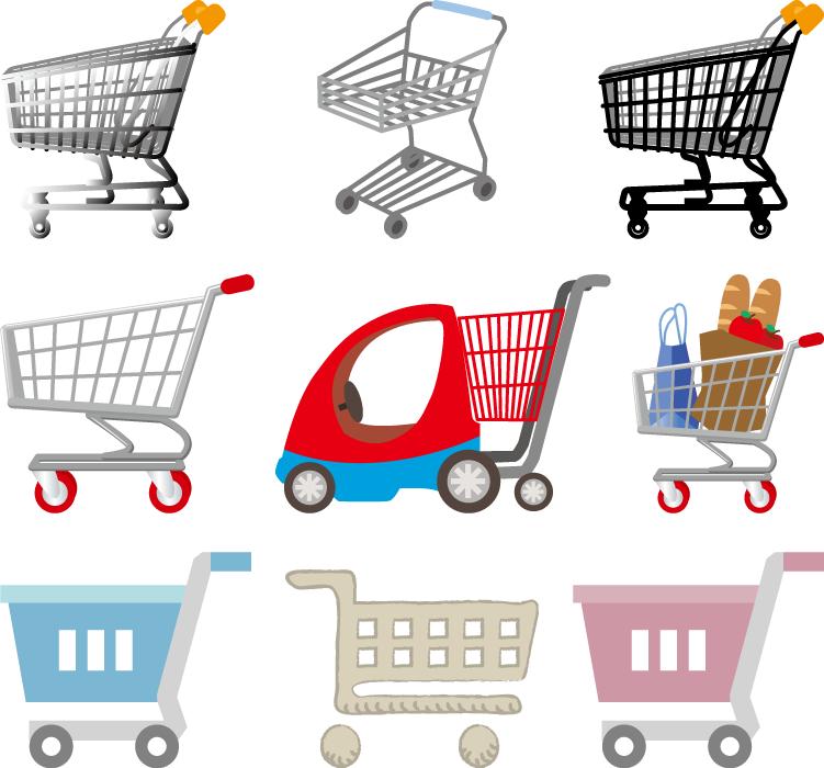フリーイラスト 9種類のショッピングカートのセット