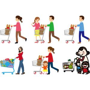 フリーイラスト, ベクター画像, AI, 買い物(ショッピング), ショッピングカート, スーパーマーケット, 人物, 女性, 男性, カップル, 夫婦, 親子, お母さん(母親), 子供, 娘, 息子